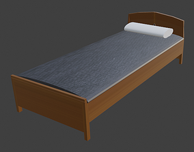 PLAIN WOODEN BED FOR DECORATION 3D model