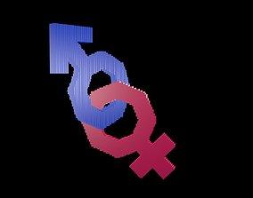 Symbols of gender voxel 5 3D model