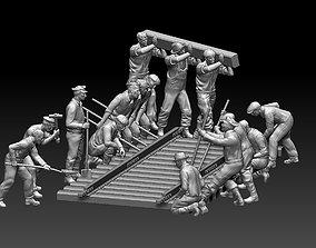3D printable model workers railway