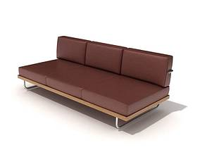 3D model Three Seat Brown Leather Sofa