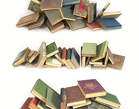 Scattered books on the floor set 4 3D model