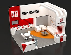 Exhibition booth 5x6m - 2 sides open 3D model - 001 3D