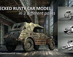 3D PBR Wrecked Rusty Car