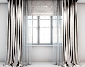 3D Light beige curtains
