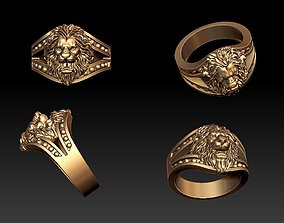 Lion ring rings 3D print model