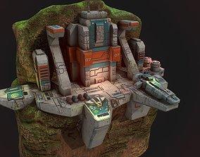 Low poly sci fi outpost buildings on cliffs 3D asset