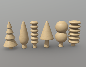 Wooden Tree Toy 3D asset
