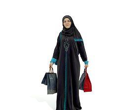 Arabic Woman Carrying Shopping Bags 3D