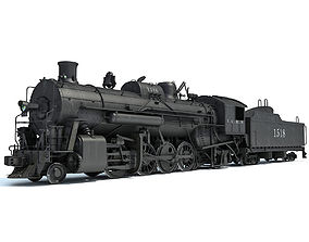 3D model Black Steam Locomotive