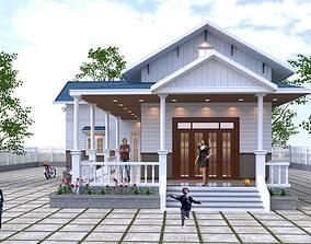 animated balcony House design 3d model