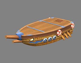 Cartoon Wooden Boat and Pier 3D asset