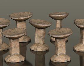 3D asset Headrest Africa Wood Furniture Prop 22