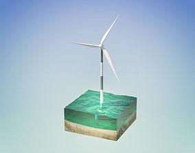 3D model Wind turbine in the sea
