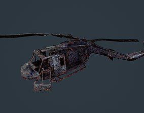3D model Wrecked Damaged UH1H Military Helicopter Game 1