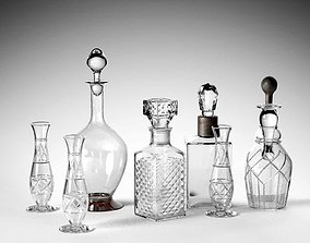 Crystal Drinking Set glassware 3D