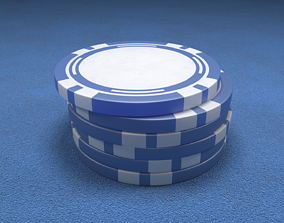 3D model Casino Chip Blue Poker Chip