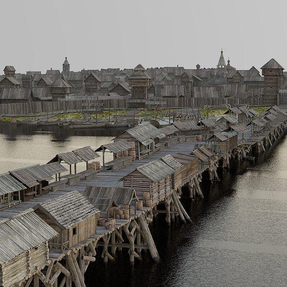 Russian Medieval Wooden Bridge