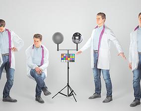 Animated man in medical coat walking sitting 3D asset 1