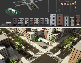 Urban Cityscape Pack low-poly 3d model realtime