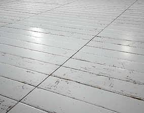 White Painted stackbond parquet - PBR textures 3D asset