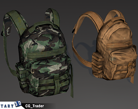 Military Soldier Backpack Lowpoly 3D VR / AR ready