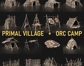 3D model Orc Camp Primal Men Hunter Ancient Huts Builder 2