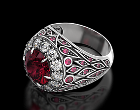 Ring under colored stone or diamond 3D printable model 5