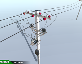 Lowpoly Modular Power line Set 3D model realtime