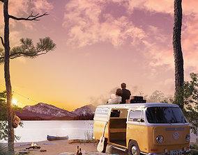 3D Retro Volkswagen camping van model with scenery