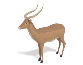 Low Poly Cartoon Impala Antelope 3D asset game-ready