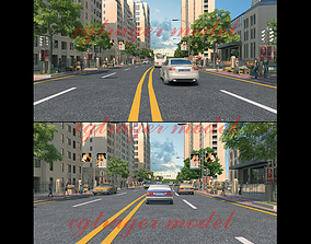 Car Driving Animation on Urban Roads 3D model