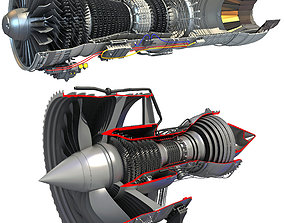 2 Sectioned Turbojet Engines 3D