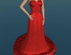 Evening dress low poly 3D model