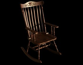 3D animated Wooden Rocking Chair