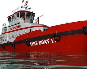 navy 3D Fireboat