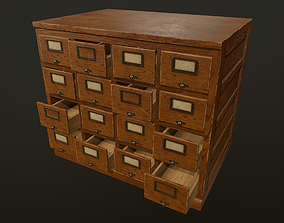 Card File Cabinet - PBR Game Ready 3D model
