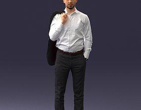 3D model Businessman holds jacket 0116