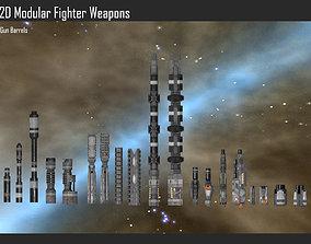 3D model 2D Modular Fighter Weapons