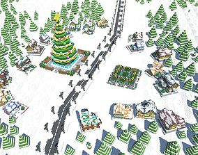 Full Pack Christmas House Voxel 3D model game-ready