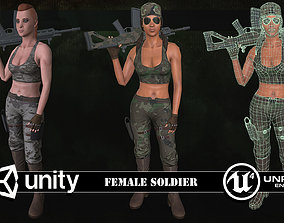 3D model Customizable Female Soldier Classic Style