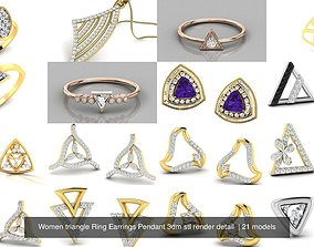 Women triangle Ring Earrings Pendant 3dm stl render