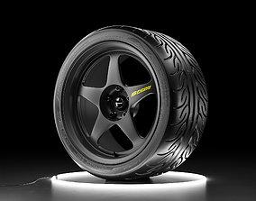 Car wheel Yokohama ADVAN NEOVA AD08R tire with 3D asset 2