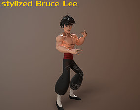 3D model animated Bruce Lee stylized