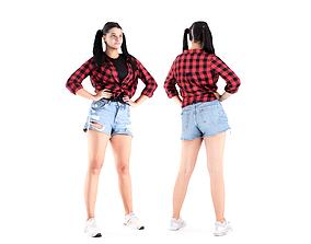 Pretty girl in jeans shorts 20 3D model