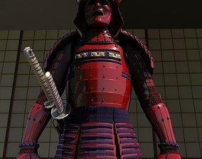 Samurai Armor Red Sanada Clan 3D model