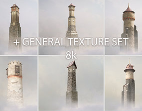 3D asset Medieval DRAGON Towers with general texture set