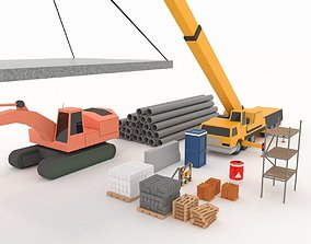 Collection building machinery and materials 3D asset 1