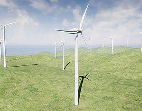 3D asset rigged Wind Turbine