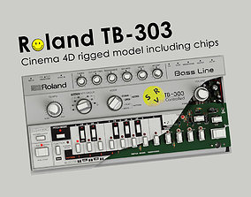 3D model synthesizer Roland TB - 303 Rigged
