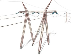Electricity Pole 25 Weathered 3D model